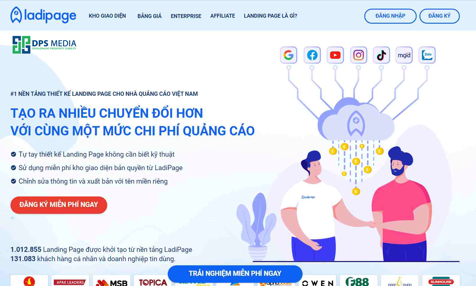 Thiết kế landing page miễn phí bằng laidipage